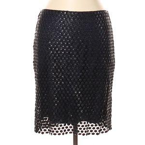 Elie Tahari Black Polkadot Overlay Pencil Skirt